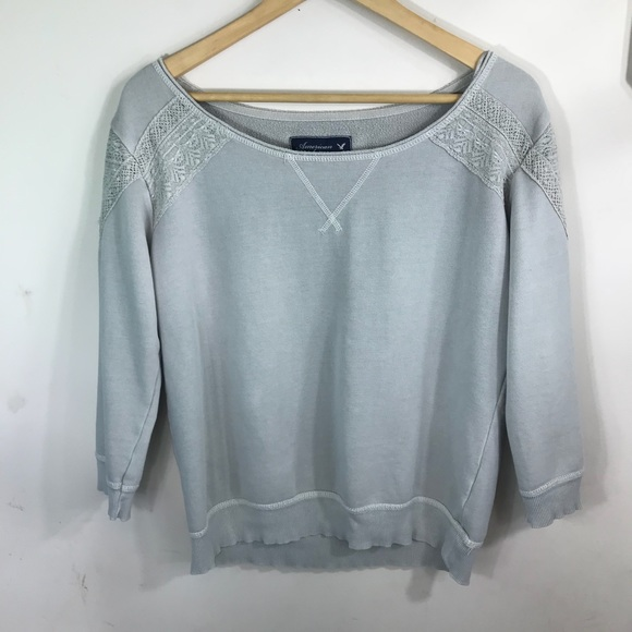 American Eagle Outfitters Tops - AE | Pale Sage Green Lace Shoulder Sweatshirt